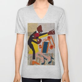 African American Masterpiece 'Jitterbugs' by William Johnson Unisex V-Neck