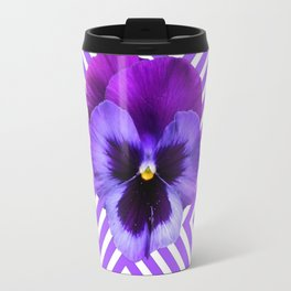 ABSTRACT YELLOW  CONTEMPORARY LILAC PURPLE PANSIES Travel Mug