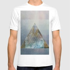 Perseid - Contemporary Geometric Pyramid MEDIUM Mens Fitted Tee White