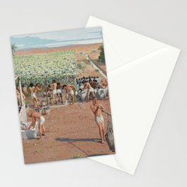 Classical Masterpiece Egyptian Laborers Harvest Grapes by Herbert Herget Stationery Cards