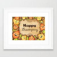 thanksgiving Framed Art Prints featuring Happy Thanksgiving by Gina Mayes