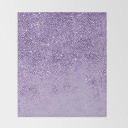 Modern elegant lavender lilac glitter marble Throw Blanket