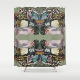 God Save The Queen - army green collage Shower Curtain