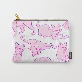Cat Crazy pink purple Carry-All Pouch