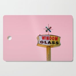 Atomic Pink Starburst - Vintage Googie-Style Sign with Pink Background Cutting Board