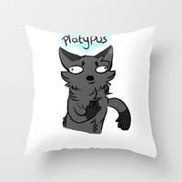 platypus Throw Pillows featuring Platypus by MMAD_and_Icepetal