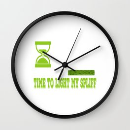 """A Nice Cannabis Tee For High Persons """"4:20 Time To Light My Spliff"""" T-shirt Design Smoking Cigarette Wall Clock"""