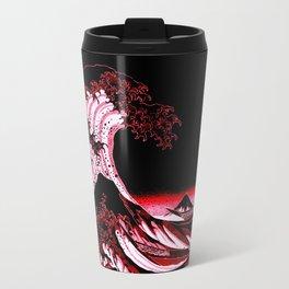 The Great Wave : Red & Black  Travel Mug