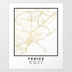 VENICE ITALY CITY STREET MAP ART Art Print