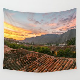Rooftop Sunset Wall Tapestry