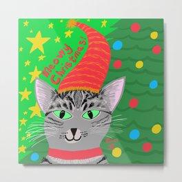 Christmas Cat short hair grey tabby green eyes Metal Print