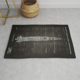 Apollo 11 Saturn V Blueprint in High Resolution (black) Rug