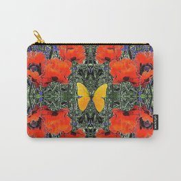 ORANGE POPPIES & YELLOW BUTTERFLIES PURPLE GARDEN ART Carry-All Pouch