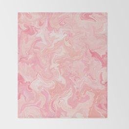 Blush pink abstract watercolor marble pattern Throw Blanket