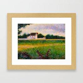 Landscape of the Ile de France Post-Impressionism landscape Oil Painting Countryside Cottages Farm Framed Art Print