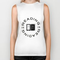 reading Biker Tanks featuring Reading is Reading by Marina Bonomi