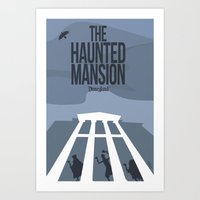 haunted mansion Art Prints featuring The Haunted Mansion by Minimalist Magic - Art by Tony Sherg