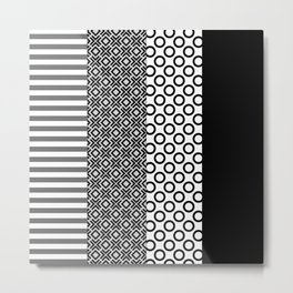 Black white block Nordic Metal Print