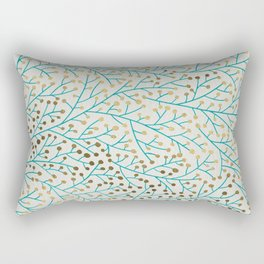 Berry Branches – Turquoise & Gold Rectangular Pillow