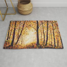 Beautiful autumn forest landscape painting. Rug