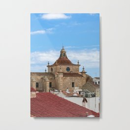Aerial view of Church of Carmen and Mahon roofs - Mahon, Menorca Metal Print