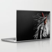 miyazaki Laptop & iPad Skins featuring Miyazaki's Mononoke Hime Digital Painting the Wolf Princess Warrior Color Variation by Barrett Biggers