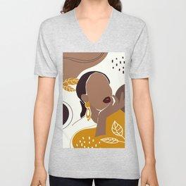African American Art, Leaf Girl Print, Black Woman Wall Art, Black Girl Print, Fashion Print Unisex V-Neck
