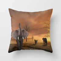 elephants Throw Pillows featuring Elephants by Susann Mielke