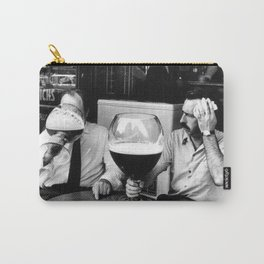 Happy Hour - Men drinking from huge beer mugs after work humorous black and white photograph / art photography Carry-All Pouch
