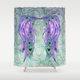 Peacock Feather Angel Wing Wallpaper Shower Curtain