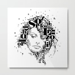Sophia Loren Typographic Image Metal Print