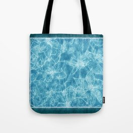 Mixed color Poinsettias 1 Outlined Blue Tote Bag