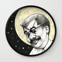 neil gaiman Wall Clocks featuring Neil DeGrasse Tyson by Shayna Piascik