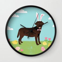 Chocolate Lab labrador retriever dog breed pet art easter portrait costume spring Wall Clock