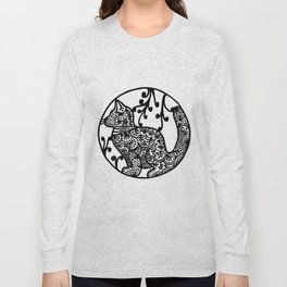 Boho Cat Illustration Black and White Paisley Long Sleeve T-shirt