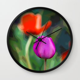 Colorful Tulip Abstract Wall Clock