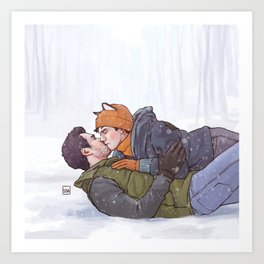 Winter Smooches Art Print