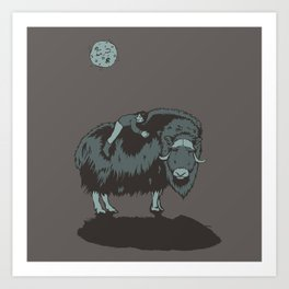 Muskox by moonlight Art Print