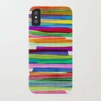 neon iPhone & iPod Cases featuring Colorful Stripes 1 by Mareike Böhmer