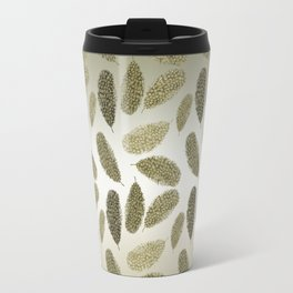 Gold Ombre Watercolor Feather Travel Mug