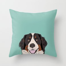 Bernese Mountain Dog pet portrait dog art illustration fur baby dog breed unique gift for dog lover  Throw Pillow