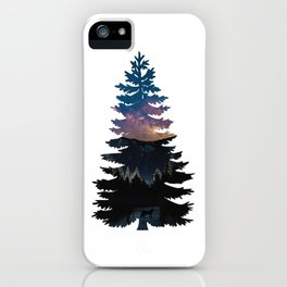 Rocky Mountain, Tree, Starry Night, Lynx Illustration Collage iPhone Case