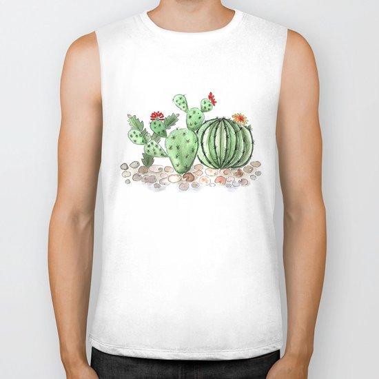 Cactus watercolor illustration Biker Tank