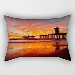 HB Sunsets   12/20/15  ~  Sunset At The Huntington Beach Pier Rectangular Pillow