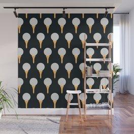 Golf Ball & Tee Pattern (Black) Wall Mural