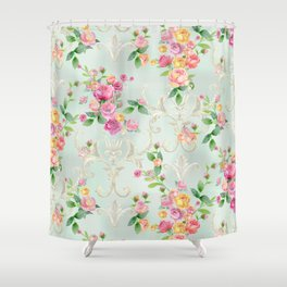 vintage pattern with roses Shower Curtain