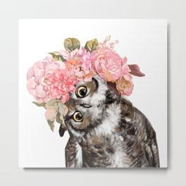 Owl with Beautiful Flowers Crown Metal Print