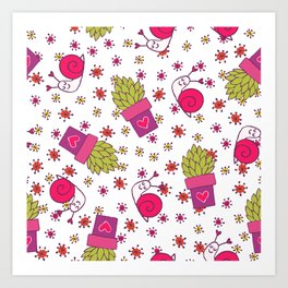 Abstract neon pink green funny snail cactus floral Art Print