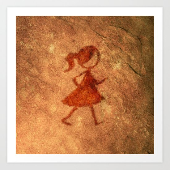 Flipt Pictures Girl Cave Painting Art Print