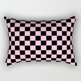 Black and Cotton Candy Pink Checkerboard Rectangular Pillow